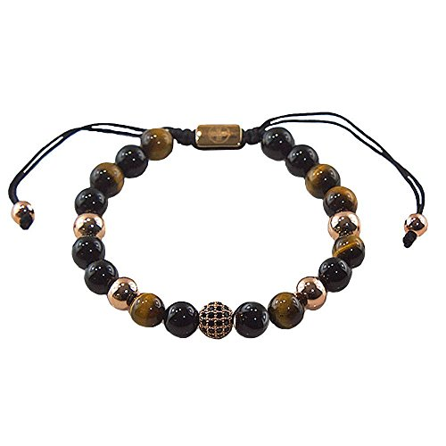 Logo Beads - FORZIANI Mens Beaded Bracelet - Tiger Eye, Black Onyx & Rose Gold Logo 8mm Beads Bracelet, Adjustable, Designer Jewelry, Luxury Gift Box and Leather Pouch Included - A Great Gift for Him