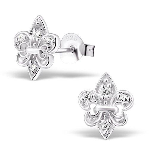 Fleur De Lis White Earrings (Pro Jewelry .925 Sterling Silver