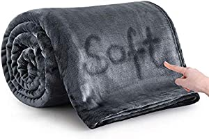 MOONLIGHT20015 Silk Touch Warm Fleece Blankets - 400 GSM Grey Throws for Sofa Fluffy Blanket Bed Throw for Bedroom,...