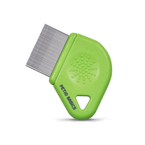 Pet Grooming Flea Comb by Petio Basics with 25mm Pins Removes Flea Eggs and Dirt from Long Hair