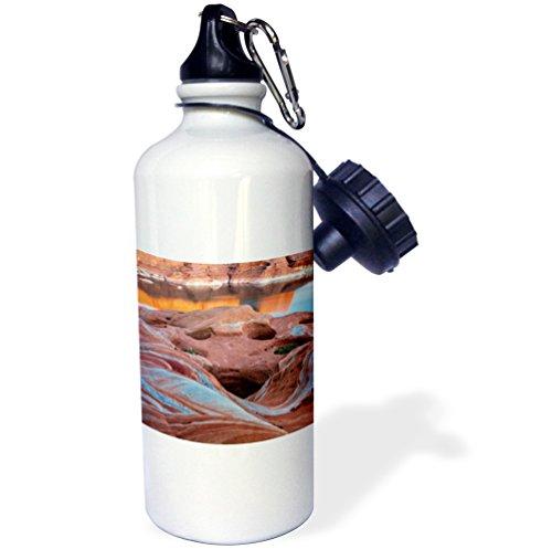 3dRose wb_231620_1''Utah. Weathering Pit Ridge at Lake Powell. Sports'' Water Bottle, 21 oz, Natural by 3dRose
