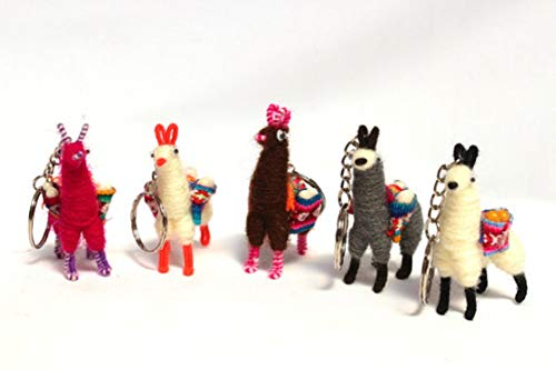 Miniature Collectibles Llamas Alpaca Keychain Key Ring Wholesale 6 Pack Bag Charm Lot ()
