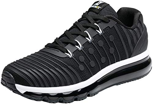 ONEMIX Ultra Air Cushion Running Shoes Men - Lightweight Casual Sports Athletic Cushioning Gym Sneakers Black White 10