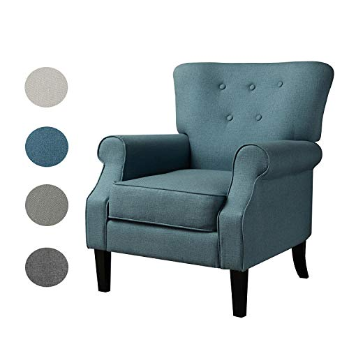 Top Space Accent Chair Sofa Mid Century Upholstered Roy Arm Single Sofa Modern Comfy Furniture for Living Room,Bedroom,Club,Office (1 PCs, Blue)