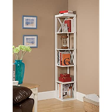 Kings Brand Furniture Wood Wall Corner 5 Tier Bookshelf Display Stand, White