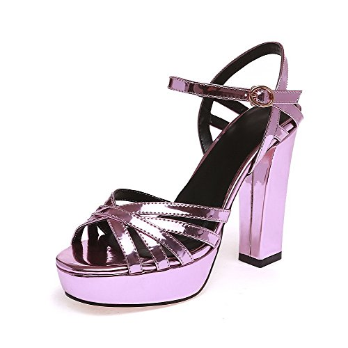 Patent AllhqFashion Sandals Solid Purple Heels Toe High Open Buckle Womens Leather Tw5wqUB