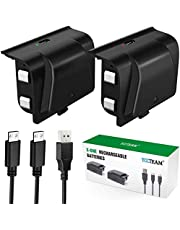 Xbox One Battery Pack Rechargeable, YAEYE Xbox One Controller Charger with 2pcs 1200 mAh Rechargeable Batteries for Offical Xbox One/S/X/Elite Controller, Upgrade Integrated Rechargeable Battery (Not Compatible with Xbox Series X/S)