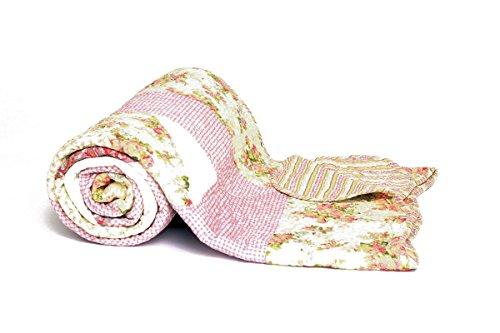 1001 Wohntraum P12-4 new Quilt V 180 x 220 cm Rosa Blumen Plaid Tagesdecke Patchwork Landhaus Shabby Decke