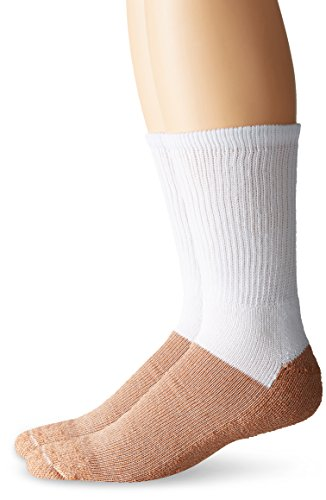 (Copper Sole Men's Cupron Pro Therapy Diabetic Crew Socks Without Logo, White, Shoe Size: 7-12)