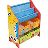 This kids Sesame Street Book and Toy Organizer has four bins, which can easily hold a childs most precious play toys.