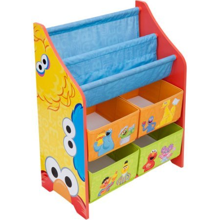 This kids' Sesame Street Book and Toy Organizer has four bins, which can easily hold a child's most precious play - Street Bay Mall