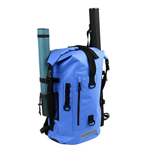 Gazechimp Angeln Rucksack Wasserdicht Wandern Reisen Tasche mit Rohrhalter - Blau