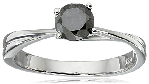10k White Gold Black Diamond Solitaire Ring (1/2 cttw), Size 6