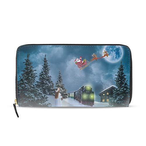 Women Men Large Capacity Long Wallet Card Holder Fashion Christmas Sleigh Moon Clutch -