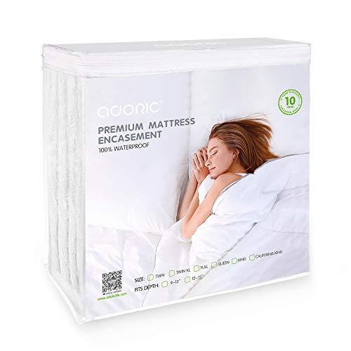 - Adoric Zippered Mattress Encasement, Premium Waterproof Mattress Protector Queen Size Cotton Terry Surface-Vinyl Free