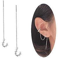 925 Sterling Silver Wave Cuff Chain Earrings Wrap Tassel Earrings for Women Perfect