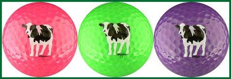 Woody 's Cowsゴルフボール(ピンク、グリーン&パープル)ゴルフボールギフトセット   B00OS9H00C