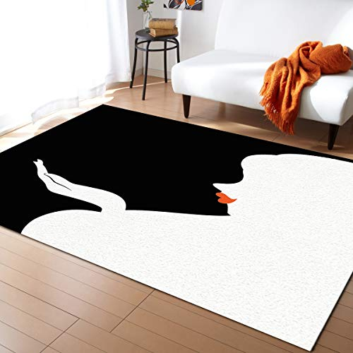 KAROLA Area Rug Lady Silhouette with Red Lip Black and White Area Rugs for Living Room Bedroom Playing Room(5' x 6'9