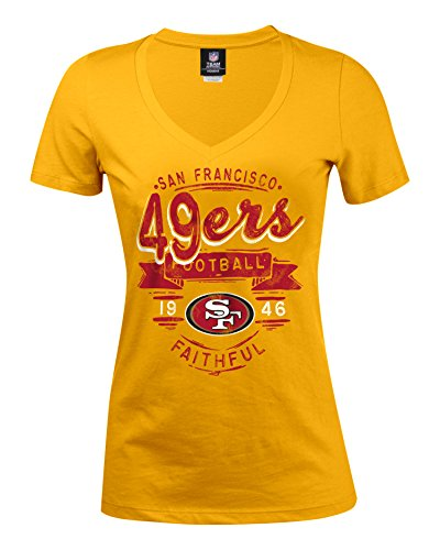 NFL San Francisco 49ers Women's Baby Jersey Short Sleeve V-Neck Tee, X-Large, Red