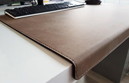 Gewinkelte Schreibtischunterlage mit Kantenschutz Nubuk Leder 90 x 47 Dunkelbeige