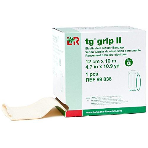 tg Grip II Elasticated Tubular Compression Bandage, Seamless Tube Stockinette Wrap for Retention, Lymphedema, Swelling, Natural, Size G (Tg Tubular Bandage)