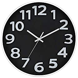 JoFomp 3D Number Wall Clock, 12 Inch Silent Non-Ticking Quartz Wall Clocks, Modern Style Battery Operated Decorative Clock, Black and White Contrast, Easy to Read for Home, Office, Living Room (Black)