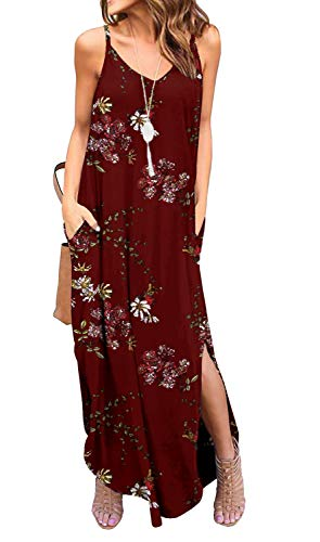 GRECERELLE Women's Summer Casual Loose Dress Spaghetti Strap Beach Cover Up Long Cami Floral Print Casual Maxi Dresses with Pocket FP Wine Red-2XL