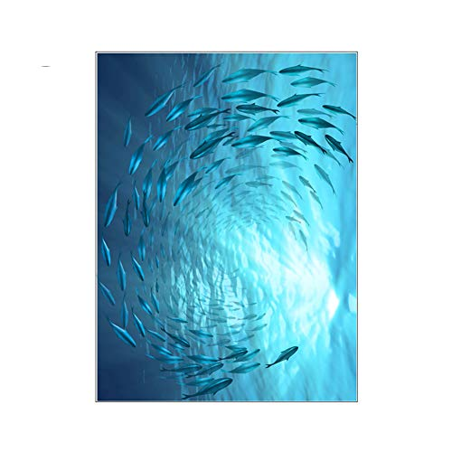 RYWS Bathroom Waterproof Window Glass Sticker,Ocean Fish Group Opaque Anti-wear Frosted Glass Film-C 60x90cm(24x35inch) -