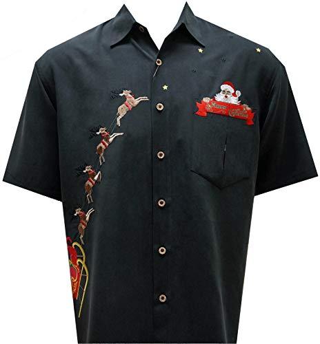 Bamboo Cay Men's Peekaboo Santa Embroidered Shirt, Black, M