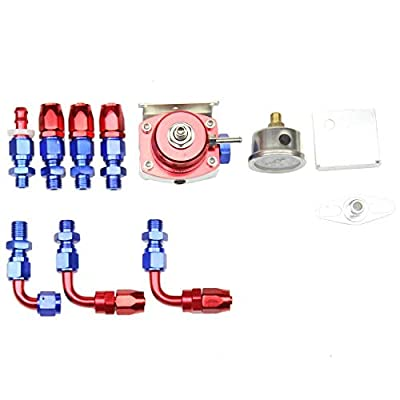 OSIAS Universal Adjustable Fuel Pressure Regulator Kit +100 Psi Pressure Gage AN6 Fitting Connectors Kit Red&Sliver: Automotive