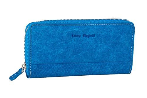 Cartera mujer LAURA BIAGIOTTI azul modelo compacto con abertura zip A4119