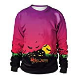 Hot Sale! Women Fashion Pumpkin 3D Printing Long Sleeve Sweatshirt - vermers Women Casual Halloween Party Pullover Tops(M, Purple)