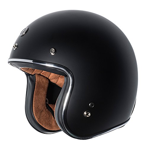TORC Unisex-Adult Open-face Style (T50 Route 66) 3/4 Motorcycle Helmet with Solid Color (Flat Black), Large)