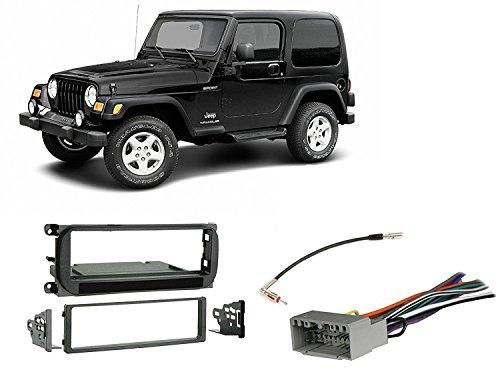 Jeep Grand Cherokee (02-04), Liberty (02-07), Wrangler (03-06) Radio Stereo Install Dash Kit + wire harness + antenna adapter