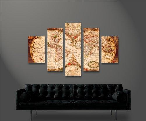 World map  mf 5 quadri moderni su tela   pronti da appendere ...