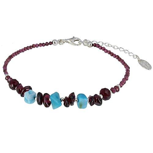 Les Poulettes Bijoux - Bracelet Perles Grenat et Pavés de Larimar