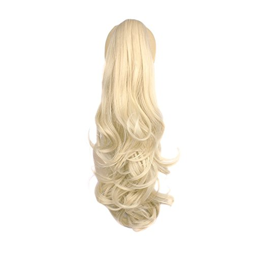 [Ponytail clip in hair extensions Long Curly weave Hairpiece 22 inches Blonde #613 claw clip On in synthetic Pony tail 140g Fake Hair with a jaw/claw clip (22