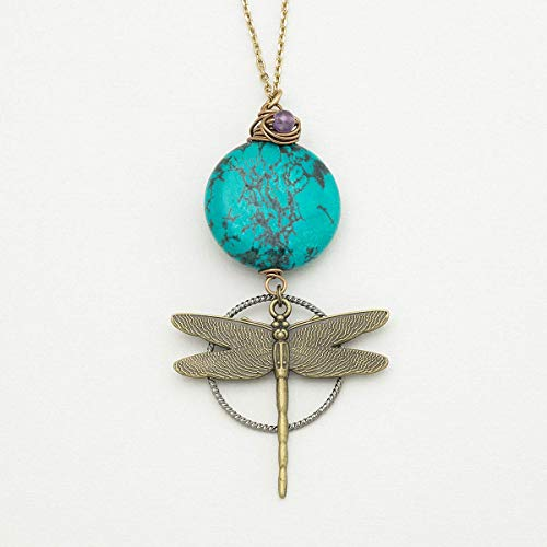 Dragonfly Gemstone Antique Bronze Pendant Necklace 26 Inches