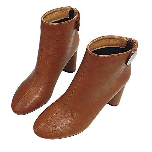Caramel Avec Cuir Rugueux L'Hiver Bottes Velours Chaussures Match Avec Tout Des KHSKX 8 Des Hauts Des color Talons De Court wzF7Uq