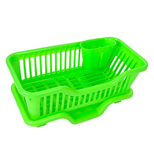 MAZIMARK-Kitchen Sink Dish Plate Drainer Drying Rack Washing Organizer Tray Holder Basket (green) by MAZIMARK
