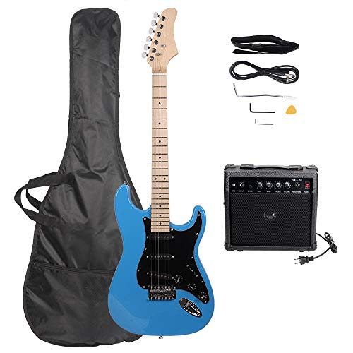 SHENWEI LIU Stylish for Music Lover Beginner with Electric Guitar with Black Pickguard Sky Blue