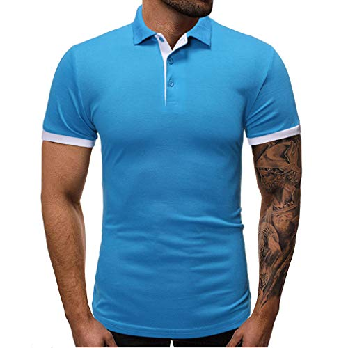 hositor Men Shirts,Fashion Slim Men's Casual Short Sleeve Patchwork T Shirt Personality Top Blouse SkyBlue