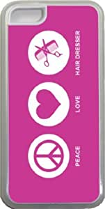 Rikki KnightTM Peace Love Hair Dresser Rose Pink Color Design iPhone 5c Case Cover (Clear Rubber with bumper protection) for Apple iPhone 5c