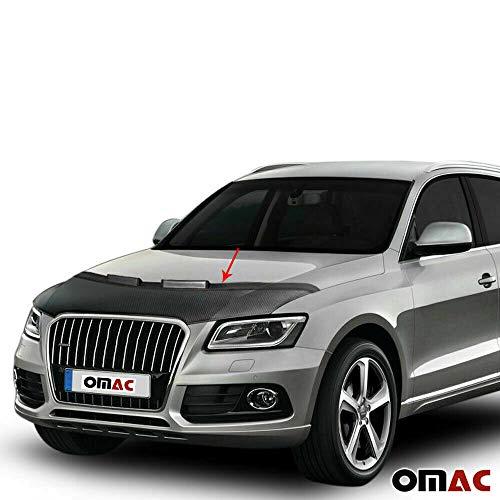OMAC USA Carbon Efect Front Hood Cover Mask Black Vinly Bonnet Bra (Half) Stoneguard Protector for Audi Q5 I 8R 2008-2017