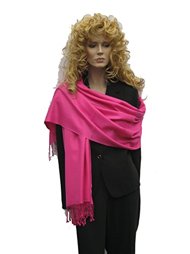 Cashmere Pashmina Group: Solid Pashmina Shawl, Scarf, Wrap & Stole(Regular size) Hot Pink Fancy Wool Scarves
