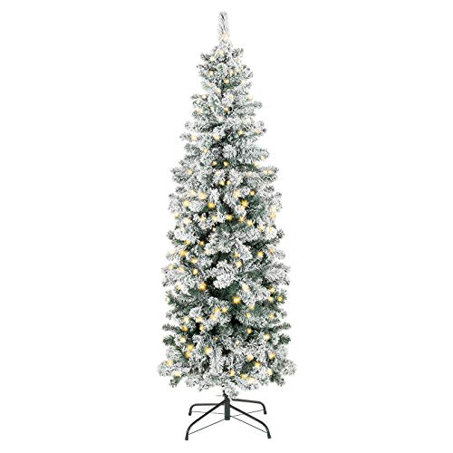 Christmas Tree Decoration PVC Pre-Lit Snow Flocked Artificial Pencil Tree Ornaments Tree Room Home Décor Holiday Décor Season Indoor 350 Clear Lights Tree Durable Foldable Metal Stand 7.5Ft