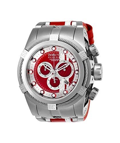 Invicta Men's Reserve Stainless Steel Quartz Watch with Leather-Synthetic Strap, red, 30.5 (Model: 26468
