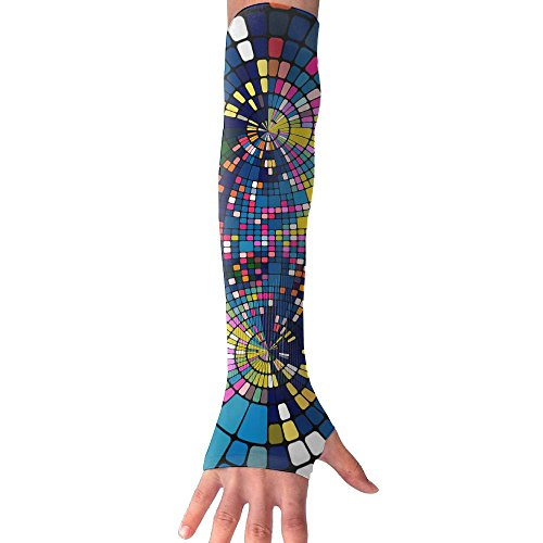 HBSUN FL Unisex Abstract Colorful Squares Art Anti-UV Cuff Sunscreen Glove Outdoor Sport Riding Bicycles Half Refers Arm Sleeves by HBSUN FL