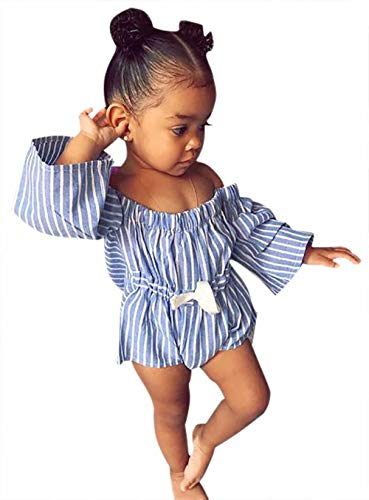 BANGELY Baby Girls Off Shoulder Striped Romper One-Piece Waist Elastic Bowtie Onesies Flare Sleeve Sunsuit Playsuit Size 24-36Months/Tag110 (Light Blue) ()