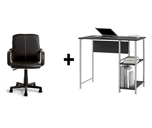 Mainstays Basic Student Black Oak Desk, Bundle Set with Black Chair